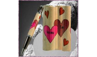 Double Hearts Inlay Pen