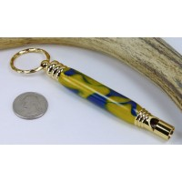 Blue Gold Swirl Secret Compartment Whistle