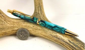 Turquoise Swirl Slimline Pencil