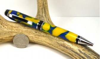 Blue Gold Swirl Cigar Pen